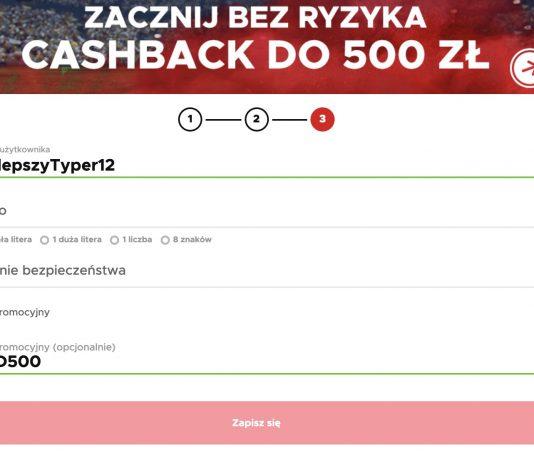 "Betclic cashback 500 PLN. Kod promocyjny ""KOD500"""